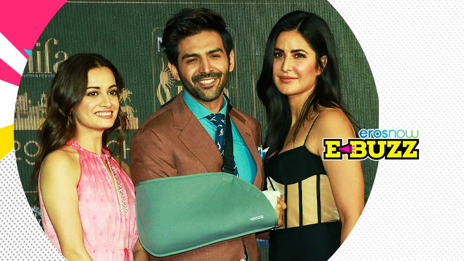 Kartik Aaryan and Katrina Kaif attend the press conference of an award show